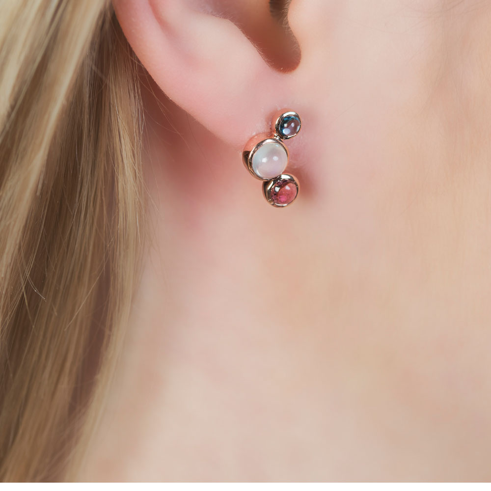 London Road Jewellery Rose Gold Multi-Gem Earrings o1uLV
