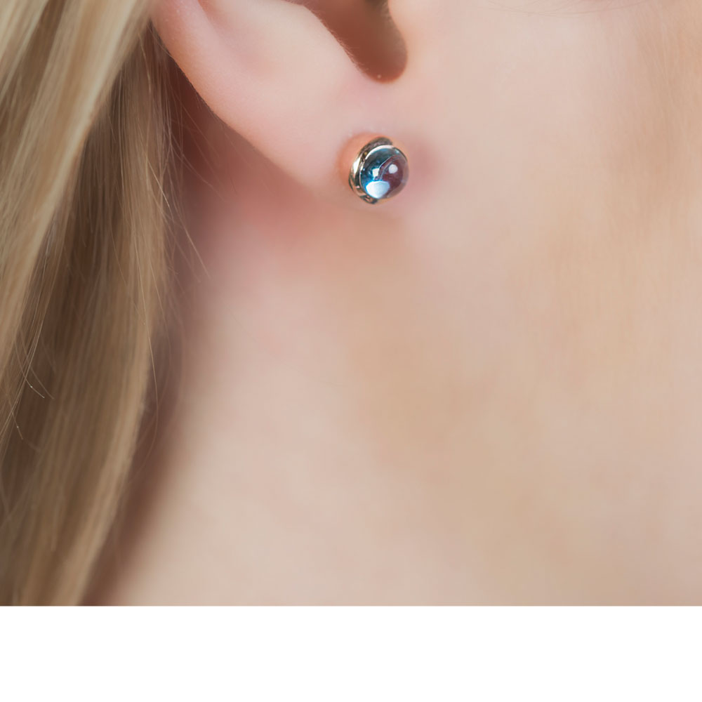 classic earrings silver blue sapphire stud cluster natural sterling of picture