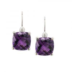 Cushion amethyst drop earrings white gold