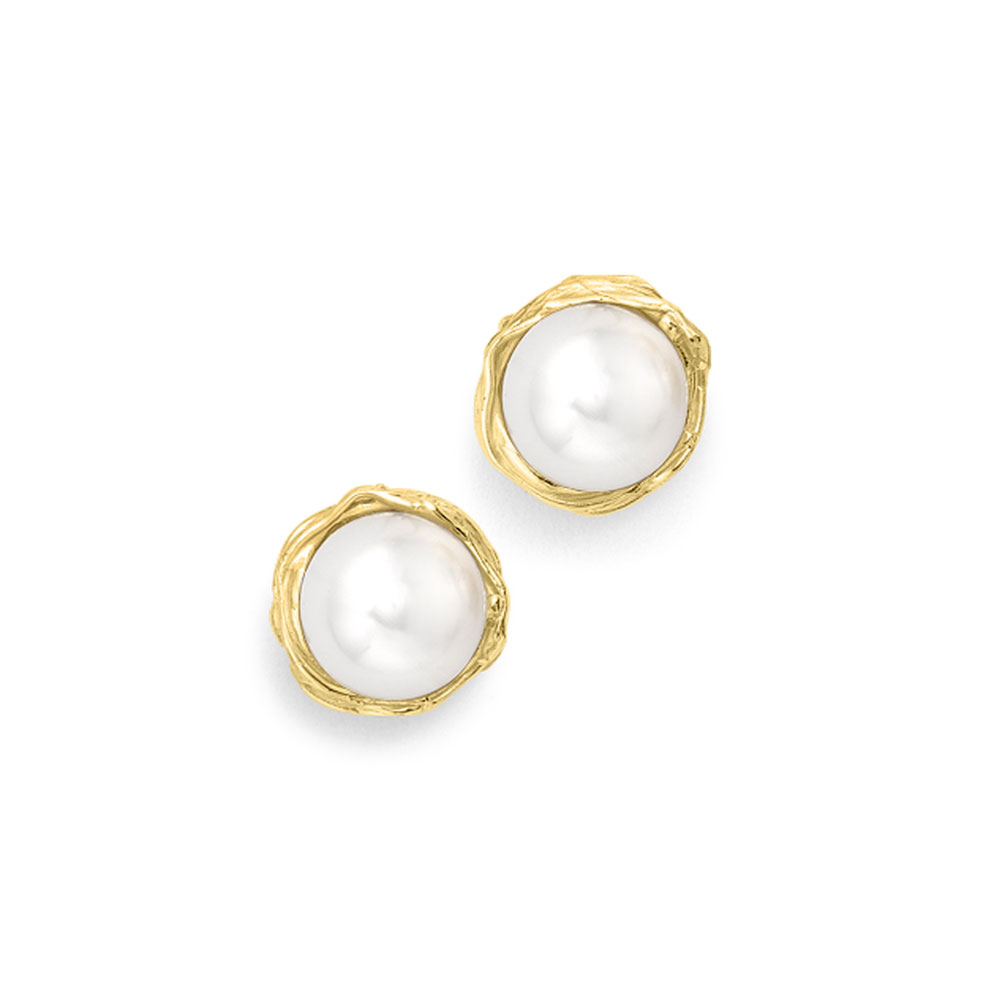 Cultured freshwater pearl stud earrings yellow gold
