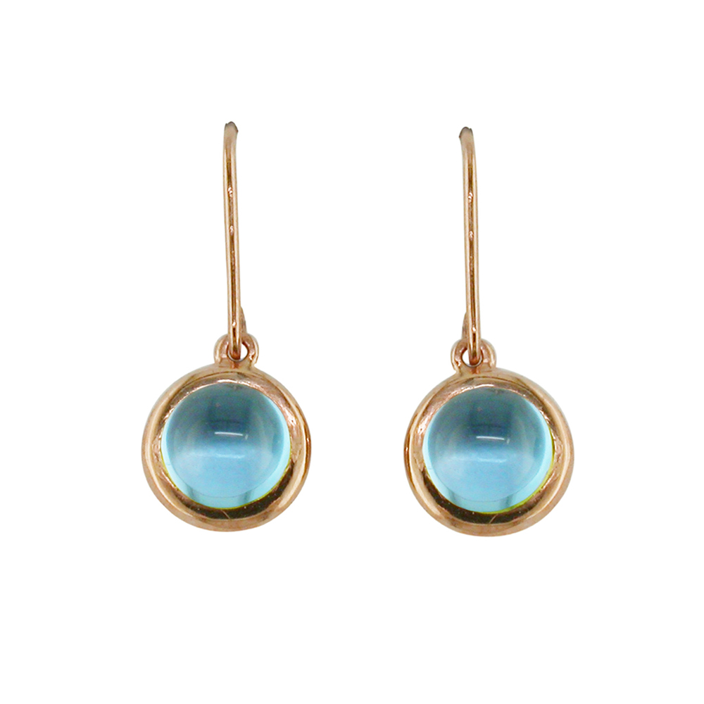 Rose gold blue topaz drop Bubble earrings
