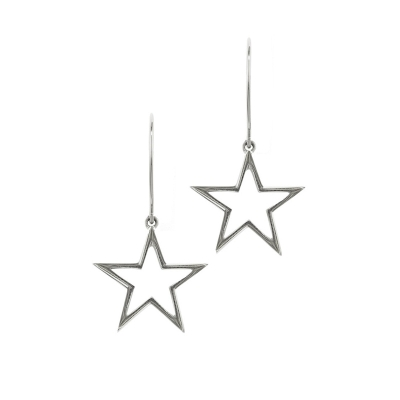 Open frame star drop earrings silver