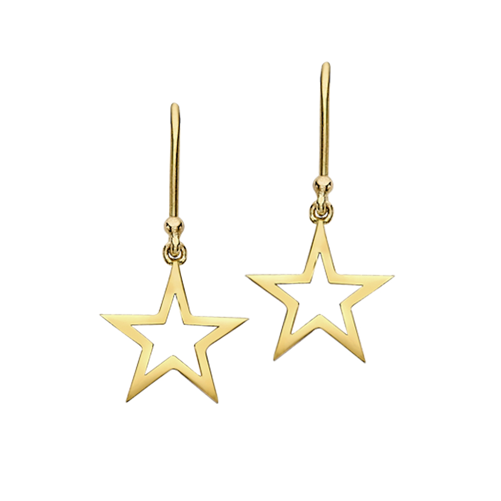 Yellow Gold Open Frame Star Drop Earrings