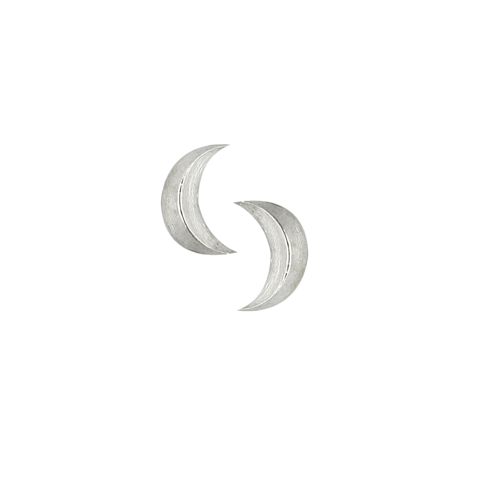 Silver 3D moon earrings