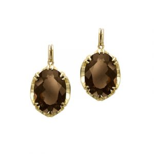Smoky quartz cocktail drop earrings yellow gold
