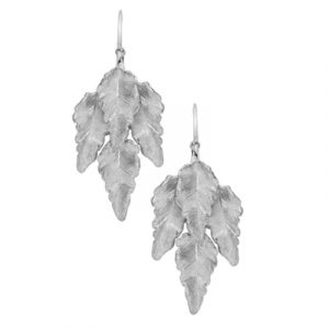 Leaf drop earrings silver