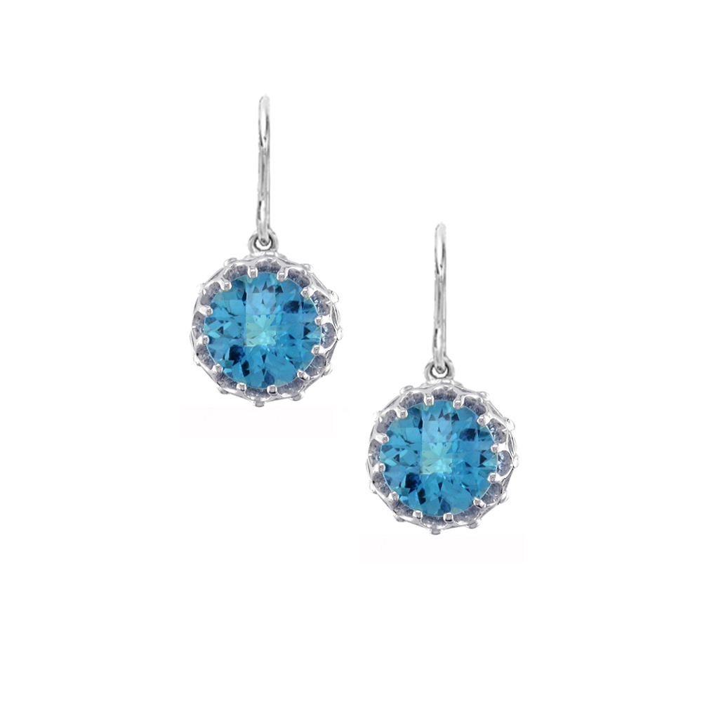 White gold blue topaz drop earrings