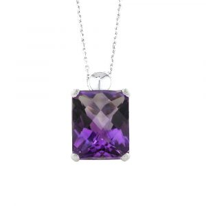 Cushion amethyst pendant white gold