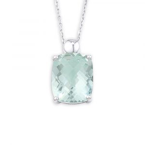 Green amethyst pendant white gold
