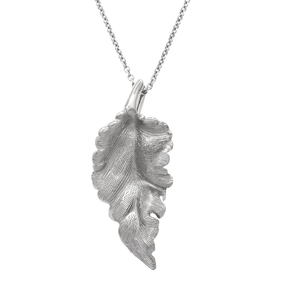 Silver Kew leaf pendant necklace