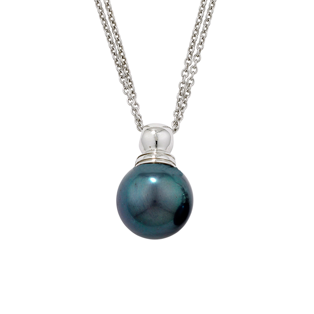 Black cultured freshwater pearl pendant white gold