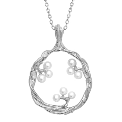 Cultured freshwater pearl pendant silver