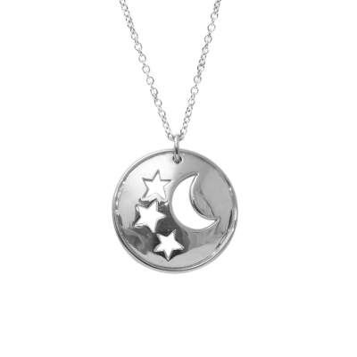 Star and moon disc pendant silver