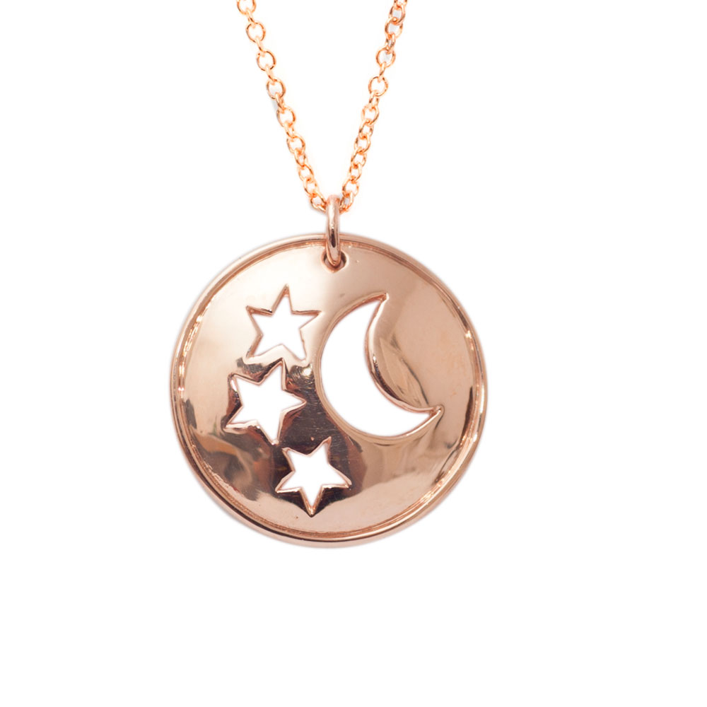 Modern rose gold moon and stars starry night disc pendant london moon and star disc pendant rose gold mozeypictures Gallery