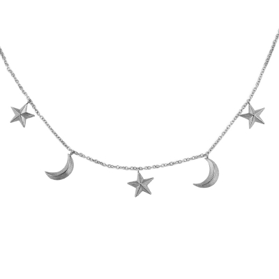 3d moon and star necklace silver