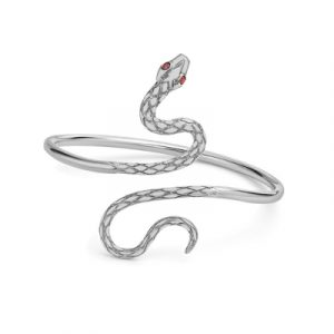 Ruby serpent snake bangle silver