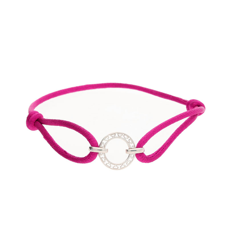 Disc cerise friendship bracelet silver