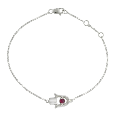 Ruby and diamond hand of fatima bracelet white gold