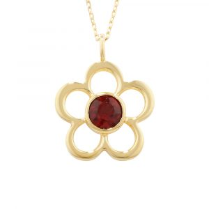 Garnet birthstone flower pendant yellow gold