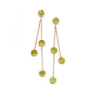Peridot drop earrings rose gold
