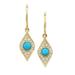 Diamond and turquoise evil eye drop earrings yellow gold