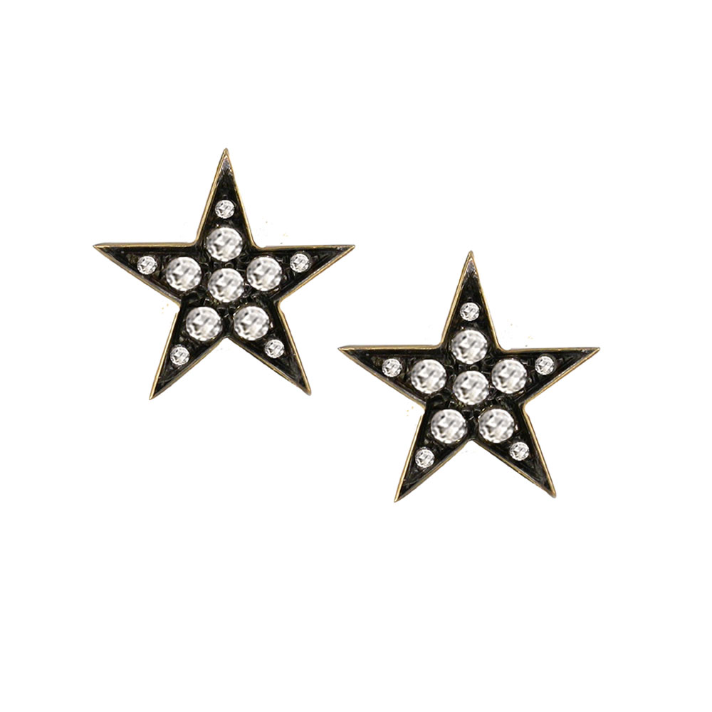 Diamond star stud earrings yellow gold