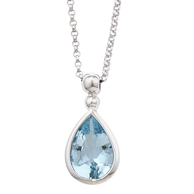 pear aquamarine preville penny marine shape necklace grande aqua products