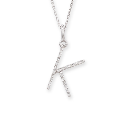 diamond initial k pendant white gold