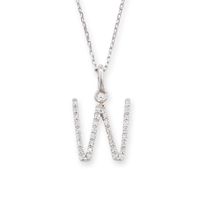 Diamond initial W pendant white gold