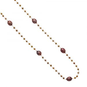 Bronze cultured freshwater pearl necklace yellow gold