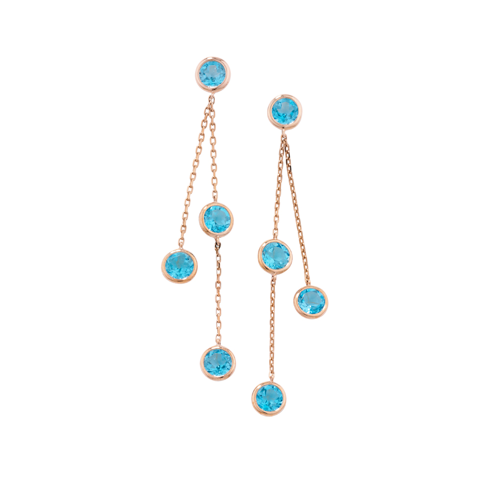 Blue topaz drop earrings rose gold
