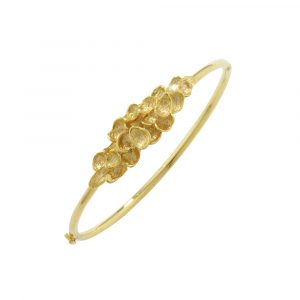 Falling leaf bangle yellow gold
