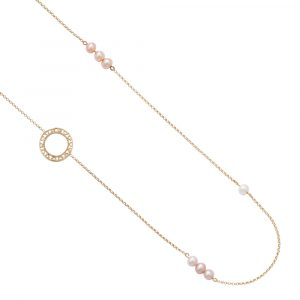 Cultured freshwater pearl disc necklace yellow gold