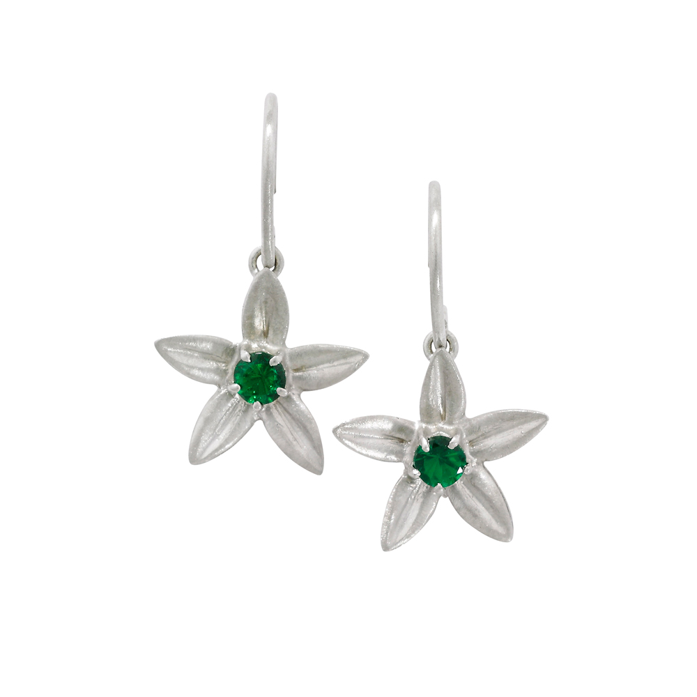 Tsavorite garnet drop earrings white gold