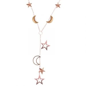 3d and open frame moon and star necklace rose gold