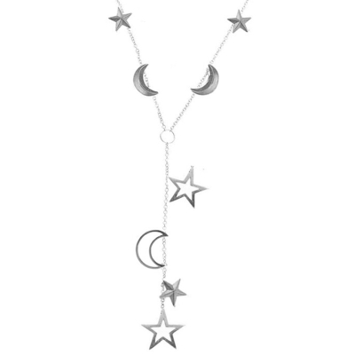 3d and open moon and star necklace silver