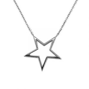 Open frame star necklace silver