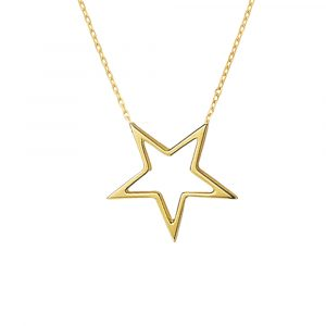 Open star necklace yellow gold