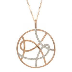 Diamond circle pendant rose gold