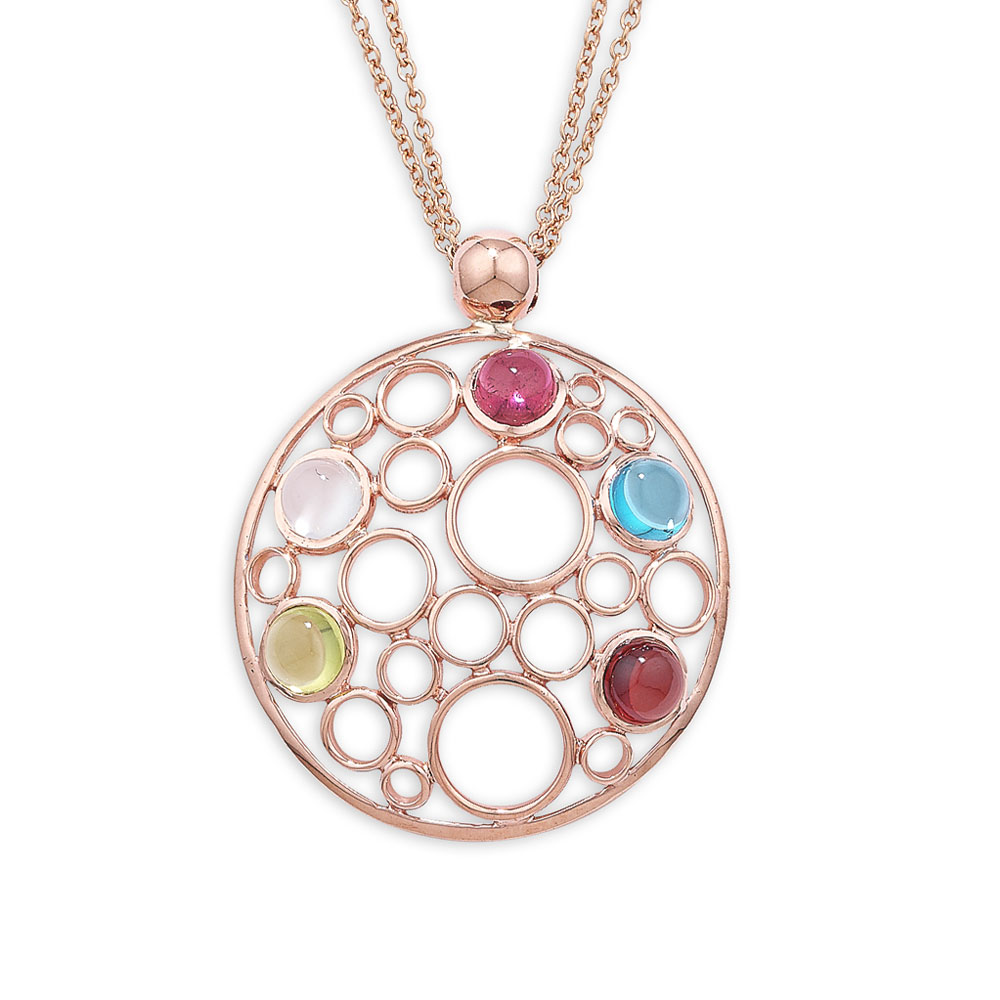 London Road Jewellery Pimlico Rose Gold Bubble Multi Gem Pendant mt8sVFs