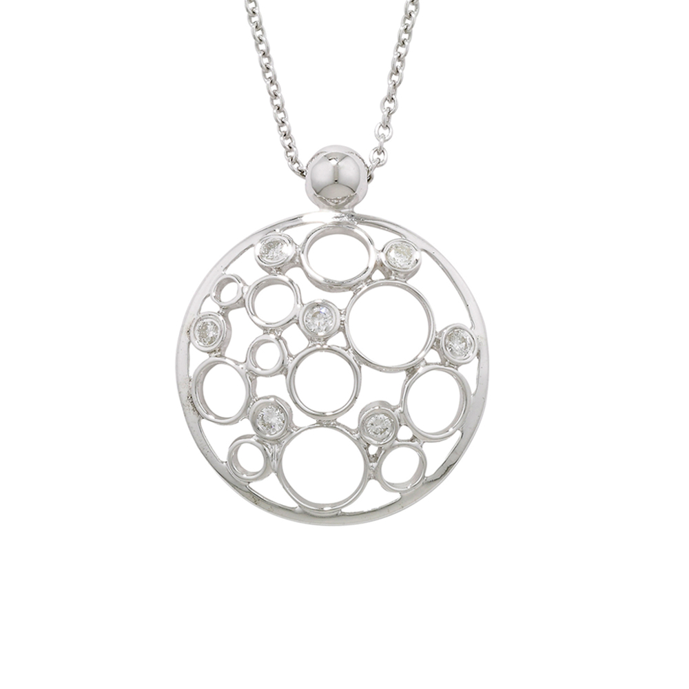 Diamond bubble pendant white gold
