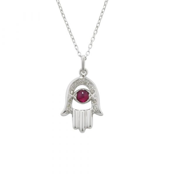 Diamond and ruby hand of fatima pendant white gold
