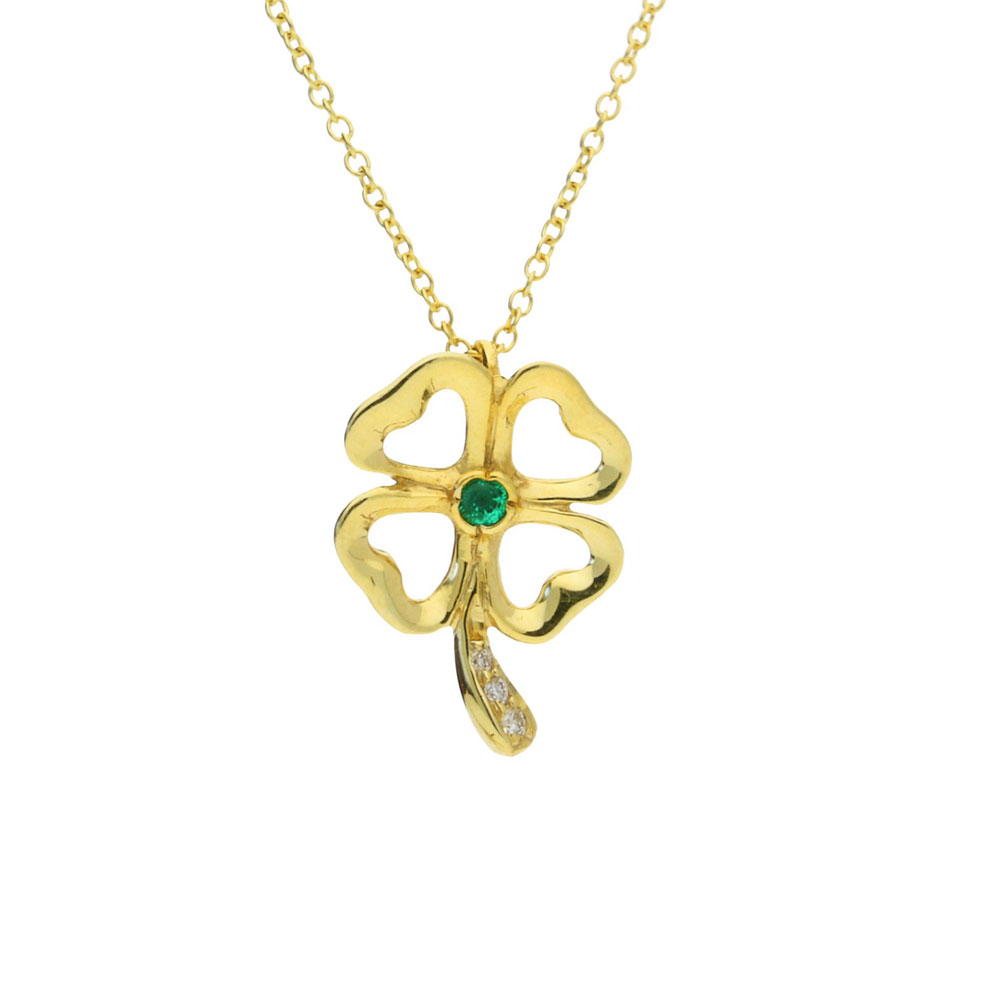 gold necklace products pendant clover leaf