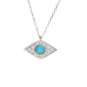Diamond and turquoise evil eye pendant white gold