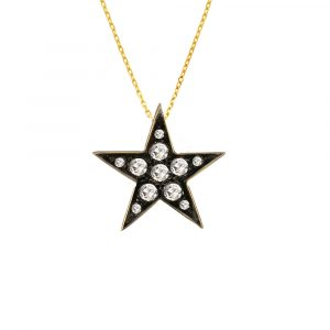 Diamond star pendant yellow gold