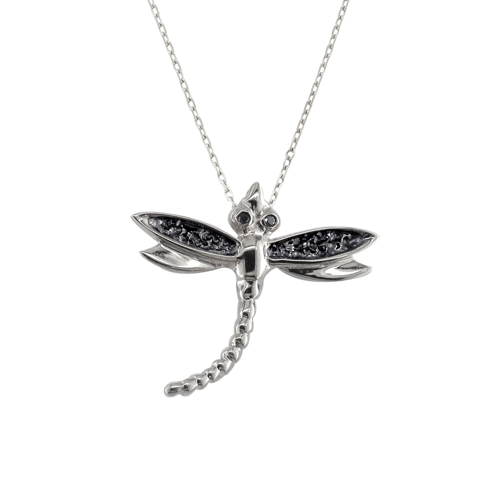 Silver black diamond dragonfly bug pendant