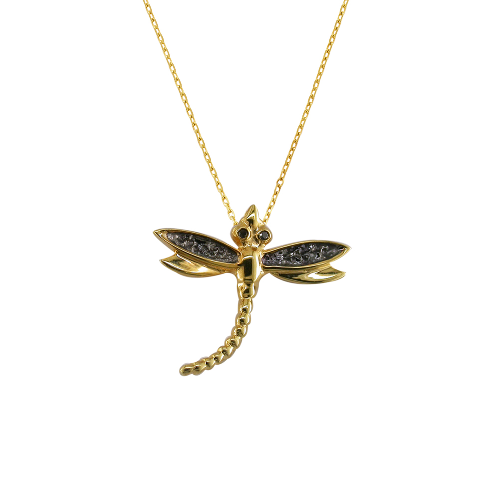 Black diamond dragonfly pendant yellow gold