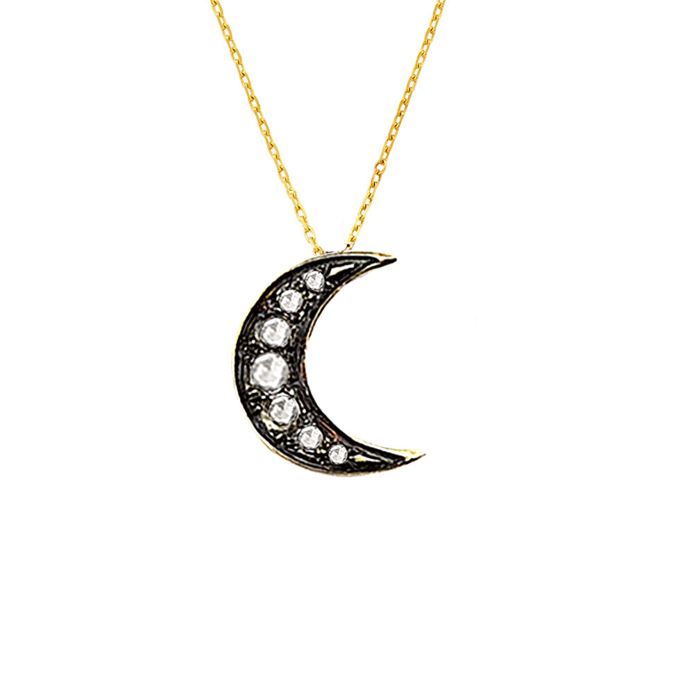 Exclusive yellow gold rose cut diamond starry night moon pendant diamond moon pendant yellow gold aloadofball Image collections