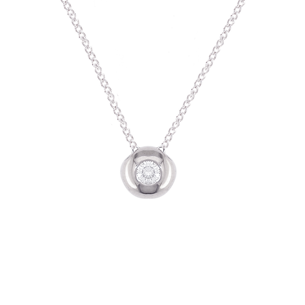 White gold diamond solitaire pendant necklace