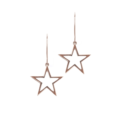 Open frame star drop earrings rose gold